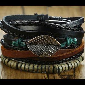 4Pcs/ Set Braided Wrap Leather Bracelets for Men